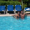 Me and Viola in the pool.
