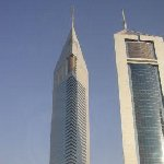 Dubai United Arab Emirates The twin towers of Dubai, one a hotel, the other one office space.
