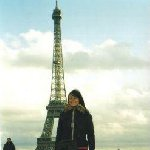 In front of the Eiffel Tower in Paris.