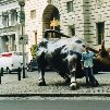 Sculpture of the Charging Bull in New York City.