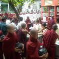 Monks in Amarapura coming together to eat and protest.