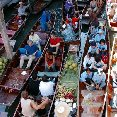 The floating market in Thailand.