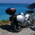 Photo of our motor bikes in Greece., Kefalonia Greece