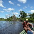 Canoe excursion through the Bolivan pampas.