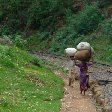 Mother and son carrying food along the railway in India.