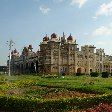 Picture of the Mysore Palace and the beautiful palace gardens, India.