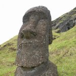 Photos of the Moai sculptures on Easter Island