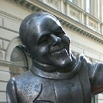 Bratislava Slovakia Bronze sculpture of Schoener Naci, Beautiful Naci in Bratislava